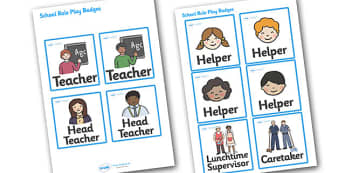 School Role Play Badges - School Role Play Pack, role play badge, school role play, register, teacher, stickers, certificates, reading diary, role play, display, poster