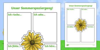 Our Summer Nature Walk Writing Activity Sheet German , worksheet