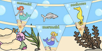 Mermaid Themed Bunting - fantasy, mermaids, bunting, display