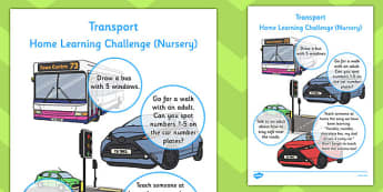 EYFS Transport Themed Home Learning Challenges Nursery FS1
