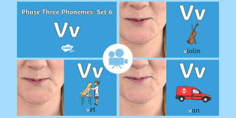 Phase Three Phonemes: Set 6: 'v' Video - Phonics, Letters and Sounds, Grapheme, pronunciation, j,v,w,x