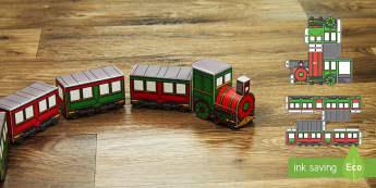 3D Christmas Train Paper Model Display Paper Craft English/Hindi - 3d, christmas train, paper model, paper craft, display,train, easy craft, holidays, EAL
