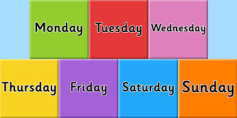 Days of the week on Tiles - visual, display, displays, poster