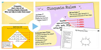 Recognise Different Forms Poetry Cinquains Lesson Teaching Pack - teeach, poerty, cinquain