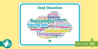 Deaf Education Word Cloud Display Poster - deaf, ToD, teacher of the deaf, BSL, sign language, audiology, SSE, hearing impaired