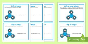 Cartes de défis de langue du hand spinner - KS2, Français, conjonction, adverbe, pluriel, homophone, sujet, complément, question, phrase injon