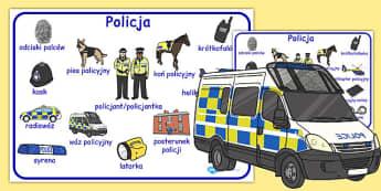 Plansza ze slownictwem Policja po polsku - po pobrania , Polish