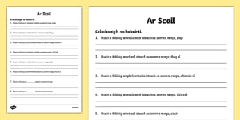 When the Teacher Came In Writing Activity Sheet Gaeilge - Irish, worksheet