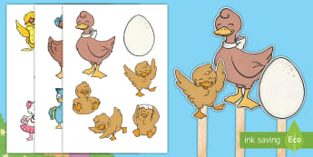 Brenda's Boring Egg Stick Puppets - duck, duckling, ducks, hatching, life cycle, EYFS, KS1, Role-play, speaking and listening, Story re-