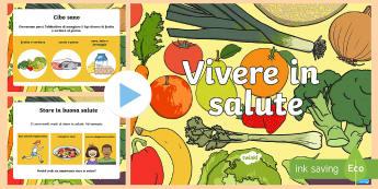 Mangiare e Vivere Sano Presentazione PowerPoint - presentazione,powerpoint, salute, esercizio, fisico, alimentazione, sana, cibo, educazione, alla, sa