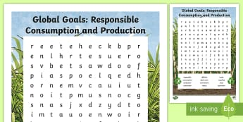 Global Goals: Responsible Consumption and Production Word Search - Learning For Sustainability, UNICEF, GG12, waste,  recycling,Scottish, global citizen, environment
