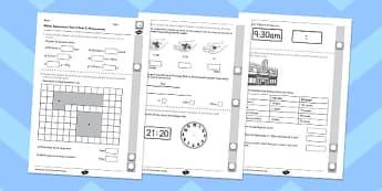 Year 4 Maths Assessment: Measurement Term 2 - maths, assessment, year 4, measurement
