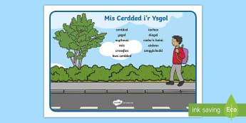 Mat Geiriau Mis Cerdded i'r Ysgol - walk, school month, week, word mat, wythnos, geirfa, allweddol, key words, crossing, croes, croesfan
