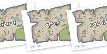 KS1 Keywords on Treasure Maps - KS1, CLL, Communication language and literacy, Display, Key words, high frequency words, foundation stage literacy, DfES Letters and Sounds, Letters and Sounds, spelling