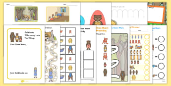 Goldilocks and the Three Bears  Work Sheets - - goldilocks, three bears, traditional tales. porridge, story, stories,
