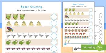 Beach Counting Activity Sheet - Beach, Beach Math, Beach Counting, Beach Math Activity Sheet, worksheet, Beach Counting Activity She