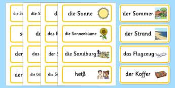 Summer Topic Word Cards German - german, Summer, Word cards, Word Card, flashcard, flashcards, season, holiday, holidays, beach, sun, flowers, ice cream, sea, seaside