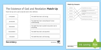 The Existence of God and Revelation: Key Terms Match-Up Activity Sheet - benevolent, omniscient, all-seeing, immanent, omnipresent, omnipotent