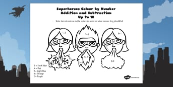 Superheroes Colour by Number Addition and Subtraction Up to 10