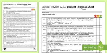 Edexcel Style GCSE Physics, Particle Model Progress Sheet - density, kelvin, gas, absolute zero, specific heat capacity