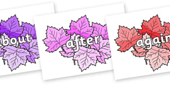 KS1 Keywords on Autumn Leaves (Multicolour) - KS1, CLL, Communication language and literacy, Display, Key words, high frequency words, foundation stage literacy, DfES Letters and Sounds, Letters and Sounds, spelling