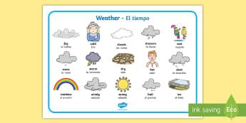 Weather Word Mat English/Spanish - Weather Word Mat - Weather display, KS1, word mat, mats, writing aid, Weather, weather chart, weathe