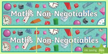 Maths Non-Negotiables Display Banner - Mathematics, Subject, Classroom, maths display, maths working wall, maths area