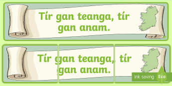 Tír Gan Teanga, Tír Gan Anam Display Banner Gaeilge - ROI - Irish Language Week Gaeilge Resources - 1st-17th March, display banner, Ireland, language, pro