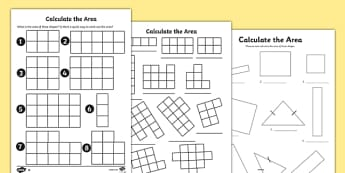 Calculate the Area Worksheets - area, worksheet, calculate, work
