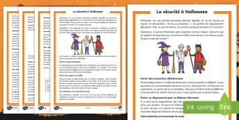 Compréhension écrite différenciée : La sécurité à Halloween - Sécurité routière, couvre feu, déguisement, farces ou friandises, cycle 2, cycle 3,French