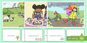 Lecture d'images : Le printemps - printemps, plantes, fleurs, pluie, parapluie, cycle 1, oral, parler, français, spring,French