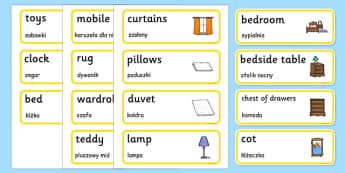 Bedroom Word Cards Polish Translation - polish, houses and homes, house, home, building, bedroom, Word cards, Word Card, flashcard, flashcards, brick, stone, detached, terraced, bathroom, kitchen, door, caravan, where we live, ourselves