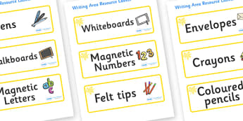 Yellow Themed Editable Writing Area Resource Labels - Themed writing resource labels, literacy area labels, writing area resources, Label template, Resource Label, Name Labels, Editable Labels, Drawer Labels, KS1 Labels, Foundation Labels, Foundation