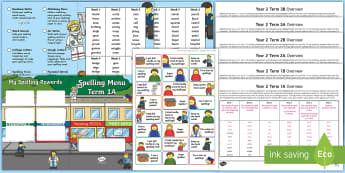 Year 2 Building Brick Themed Spelling Menu Pack - Spag, gps, home learning, weekly, lists, test,