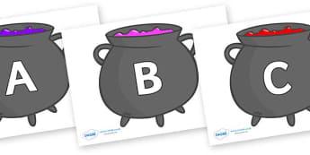 A-Z Alphabet on Cauldrons (Plain) - A-Z, A4, display, Alphabet frieze, Display letters, Letter posters, A-Z letters, Alphabet flashcards