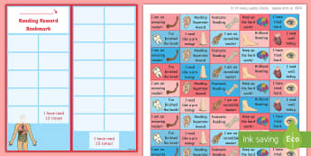 KS2 Human Body Themed Reading Sticker Reward Bookmarks - Y4, LKS2, Home Readers, Reading Log, Stickers, Motivation