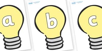 Phoneme Set on Lightbulbs (Plain) - Phoneme set, phonemes, phoneme, Letters and Sounds, DfES, display, Phase 1, Phase 2, Phase 3, Phase 5, Foundation, Literacy