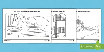 The Dual World of Anders Arnfield Colouring Pages - wet play, mindfulness, fiction, reading, game, activity, display, fantasy