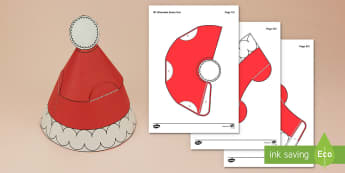 Simple 3D Wearable Santa Hat Paper Craft - santa, hat, disguise, paper crafts