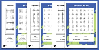 National Anthems Word Search