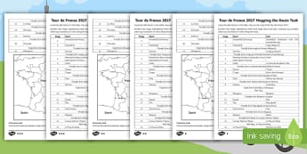 KS2 Tour de France Route Planning Differentiated Activity - cycling, cyclists, route, map work, geography.