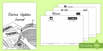 Election Updates Journal Activity Booklet - New Zealand, 2017 Elections, Government, National, Greens, Labour, New Zealand First, Parliament, Ma