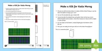 Design a Kilt Activity - Requests CfE, Katie Morag, make a kilt, craft activity for Katie Morag, time filler, Scottish dress,