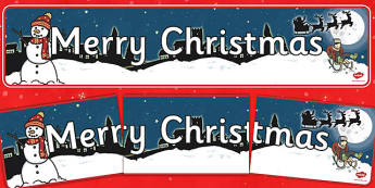 Christmas Display Banner (Merry Christmas) - Christmas, xmas, display banner, Merry Christmas, tree, advent, nativity, santa, father christmas, Jesus, tree, stocking, present, activity, cracker, angel, snowman, advent , bauble