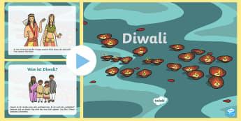 Diwali Informationen PowerPoint Präsentation - Divali, Religion, Hinduismus, Lichterfest, Hindus, ,German