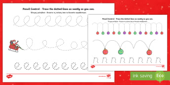 Christmas Pencil Control Activity Sheet English/Greek - worksheet, Christmas Pencil Control Worksheets - worksheet, motor, skills, pencilcontrol, chritmas,