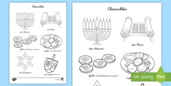 Chanukka Ausmalbilder - Hanukkah, Judentum, Feier, Religion, Religionsunterricht, Ethik, ,German
