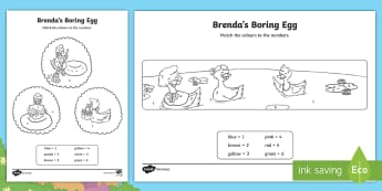 Brenda's Boring Egg Colour by Number - KS1, EYFS, Number recognition, Maths, Number, ducks, eggs, hatching, duck life cycle, ugly duckling,