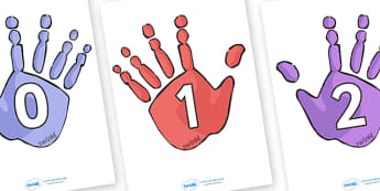 Numbers 0 30 on Handprints - number, 0-30, handprint, counting