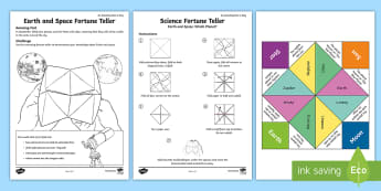 Earth and Space Fortune Teller Template - earth and space, fortune teller, earth, space, planets, moon, amazing fact august